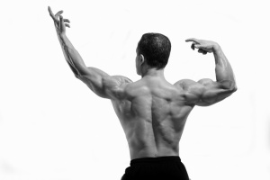 A slight variation to the common 'back double biceps' compulsory body-building pose.