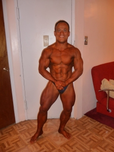 Night before contest in NY, USA. Placing: 4th in the World at the World Natural Bodybuilding Championships.