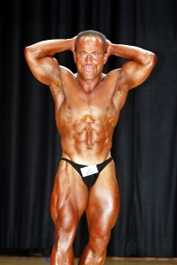 Abdominals/Thighs Pose at the 2007 World Natural Bodybuilding Championships held in NY, USA. Ranked: 4th Best Natural Bodybuilder in the World.