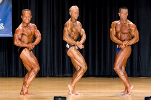 Side Chest Pose with the Top 2 Natural Bodybuilders in the World. Year: 2007 Venue: in NY, USA