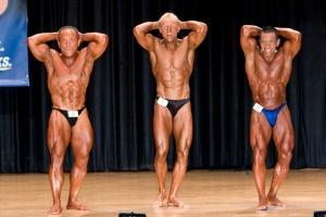 Abdominal/thigh pose with the top 2 Natural Bodybuilders in the world in 2007.