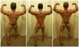 Progress shots of the 'back double biceps' pose prior to contest.