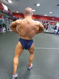 Back lats spread a few weeks prior to the Australian Natural Bodybuilding Titles. Placing: 2nd in Australia.