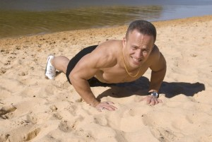 Push-ups on the local beach. Basics can be hard work!