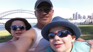 Guess where we are? The Sydney Harbour bridge in the background - at one of our nearby favourite playgrounds.