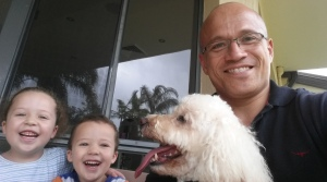 My kids and I with Ruby the Dog. They just adore each other. Choose to spend time with your kids, not 'quality time'.