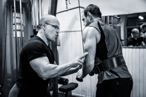 """Retired Ex-Australian Wallaby & Waratah's Captain - Phil Waugh doing triceps press-downs and """"feeling the essence"""" with perfectly performed repetitions. A great example of a human being striving to be the BEST he can be - for himself, first and then, everyone else. All day. Every day."""