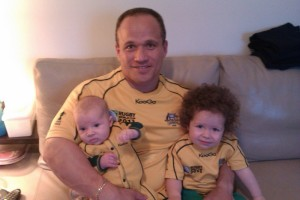 Appropriate outfit given the Rugby World Cup currently under-way in England, Me and my two Australian Valentines. Go the Wallabies!