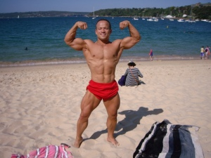 Front double biceps at my favourite beach here in Sydney, Australia. Enjoying the sun and the creator that it is. Be not like the moon, be like the sun. Vv.