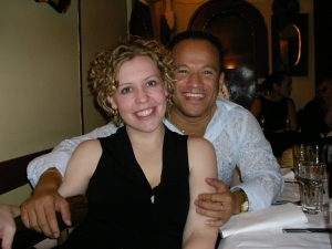 Here we are ... my beautiful wife and I. at a dinner party.